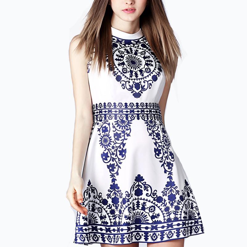 ELAN 2016 Women Dress Summer Sleeveless Tunic Casual Retro Vintage Midi Print Floral Prom  Dresses  Plus Size