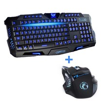 Newest  Tri-color USB Wired LED Backlit  Laptop Computer Gamer Keyboard Mouse Combo Optical Professional 7 Buttons 5500 DPI Mice(China (Mainland))