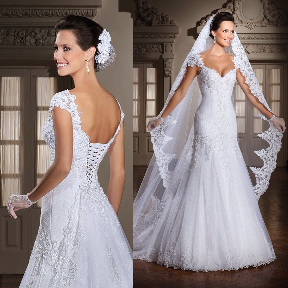 Buy white cap sleeve lace wedding dress for How to lace a corset wedding dress
