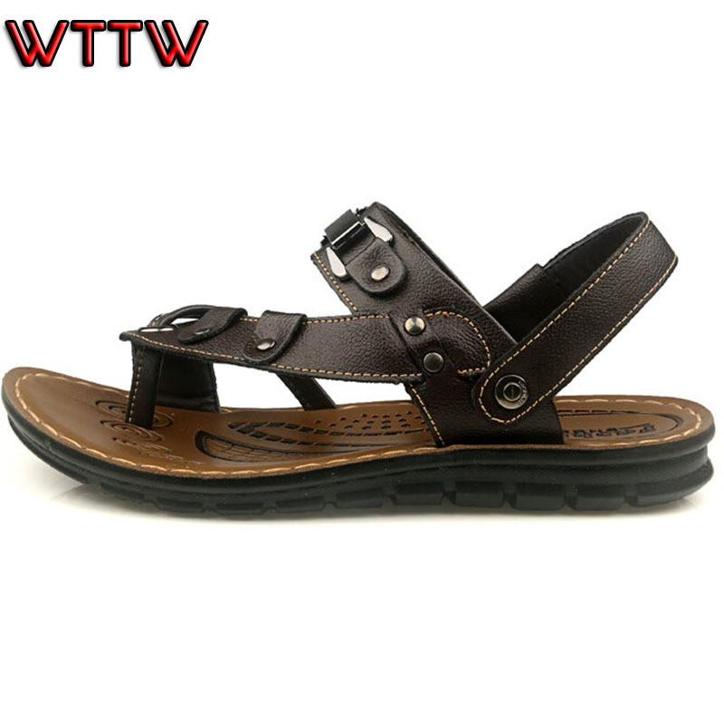 High quality 2015 men sandals genuine leather cowhide sandals casual summer shoes male slippers sandals for man free shipping