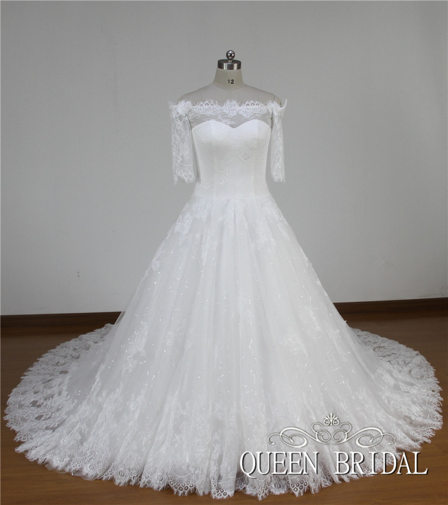 Vintage white color beads and embroidery wedding dress for Short wedding dress with long train