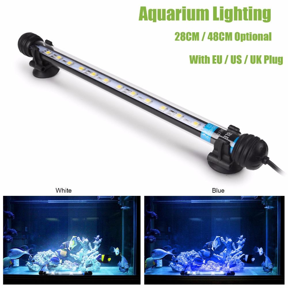 Waterproof LED Aquarium Light 12LED 24LED Blue White Marine Aquarium Pool Pond Led Lighting 28CM 48CM With EU UK US Switch Plug(China (Mainland))