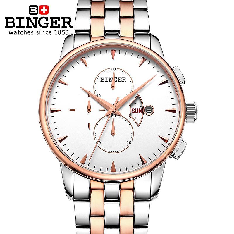 Switzerland watches men luxury brand Wristwatches BINGER 18K gold Quartz watch full stainless steel Chronograph BG-0404-3