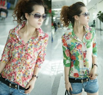 New Women Lady Button Down Casual Flower Blouse