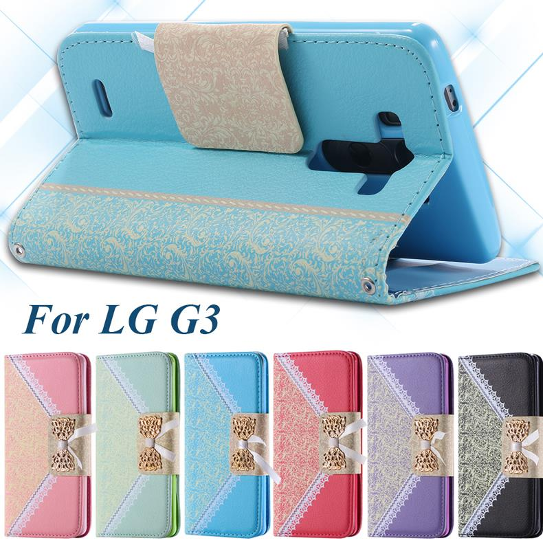 G3 Women Fashion Long Chain Wallet Flip Leather Pouch Case For LG Optimus G3 D830 D855 VS985 Lace Metal Bow Stand Phone Cover(China (Mainland))