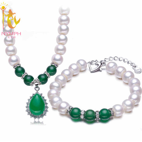NYMPH brand Natural freshwater pearl jewelry sets ,9-10mm  white pearl necklace /brace sets best gift for mother T112<br><br>Aliexpress