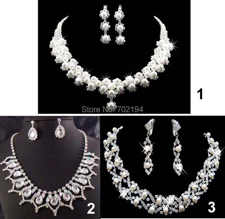 2015 hotsale Wedding Bridal nekclace Jewelry Set 3 kinds Necklace Earring 2-piece jwellery sets taki setleri free shipping(China (Mainland))