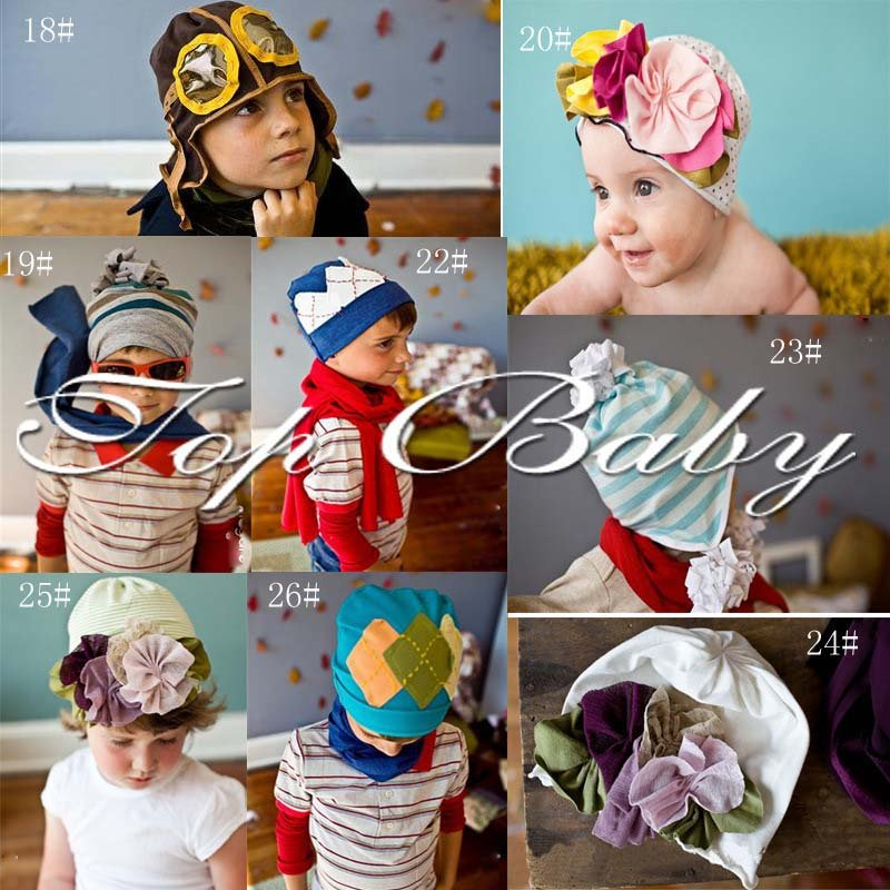 New Arrival Free Shipping 100% Cotton High Quality Top Baby Beanie Hats/Baby Flower Caps One Size Fit All/Various Colors<br><br>Aliexpress