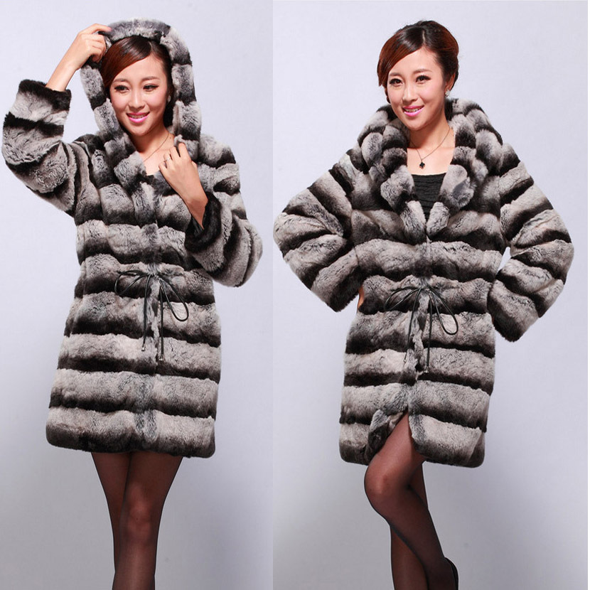 2016 real natural genuine rex rabbit fur coat fashion women full Sleeves Long Belted New Arrival Luxury Chinchilla fur outwear(China (Mainland))