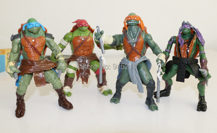 TMNT Teenage Mutant Ninja Turtles anime action figures kids baby toys for Children collection dolls with light 100sets/lot<br><br>Aliexpress