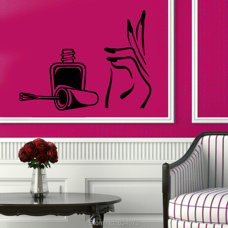 Manicure girl hand nails beauty salon wall art sticker for Stickers salon design