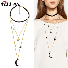 KISS ME New Popular Choker Necklace Three Layers Alloy Stars Moon Necklaces for Women Fashion Jewelry(China (Mainland))