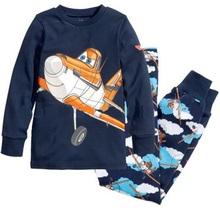 2015 New Children Clothing Set Kids Planes Pajamas Set Boy Long Sleeve Spring Autumn Sleepwear Clothes