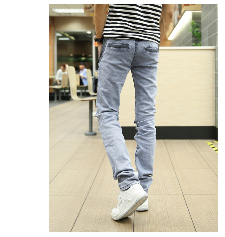 Cotton Mens Jeans Drawstring Pencil Pants 2016 New Slim Denim Trousers Solid Long Pants Men Casual Jeans Grey Blue Size 38