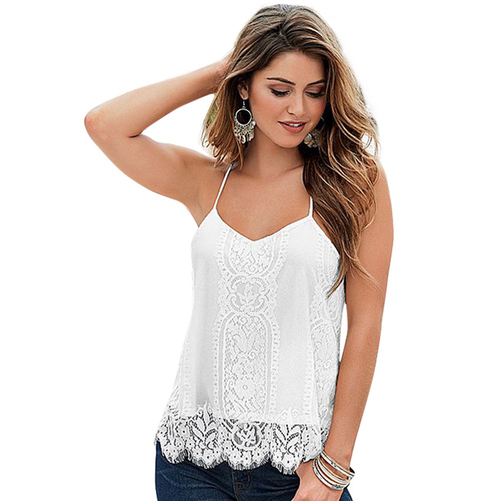 Fashionable New Design Hot selling High Quality Lady Sweet Spaghetti Strap Lace Solid White Color Tank Top for Women(China (Mainland))
