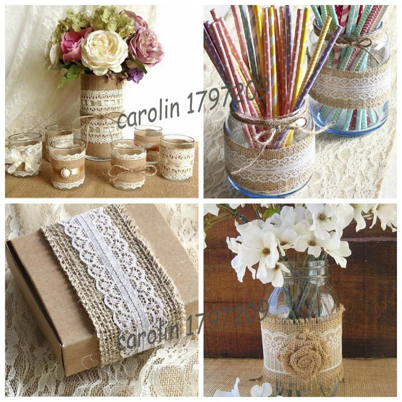 5m jute burlap hessian ribbon lace trims tape rustic wedding decor wedding cake topper vintage Home decoration with jute