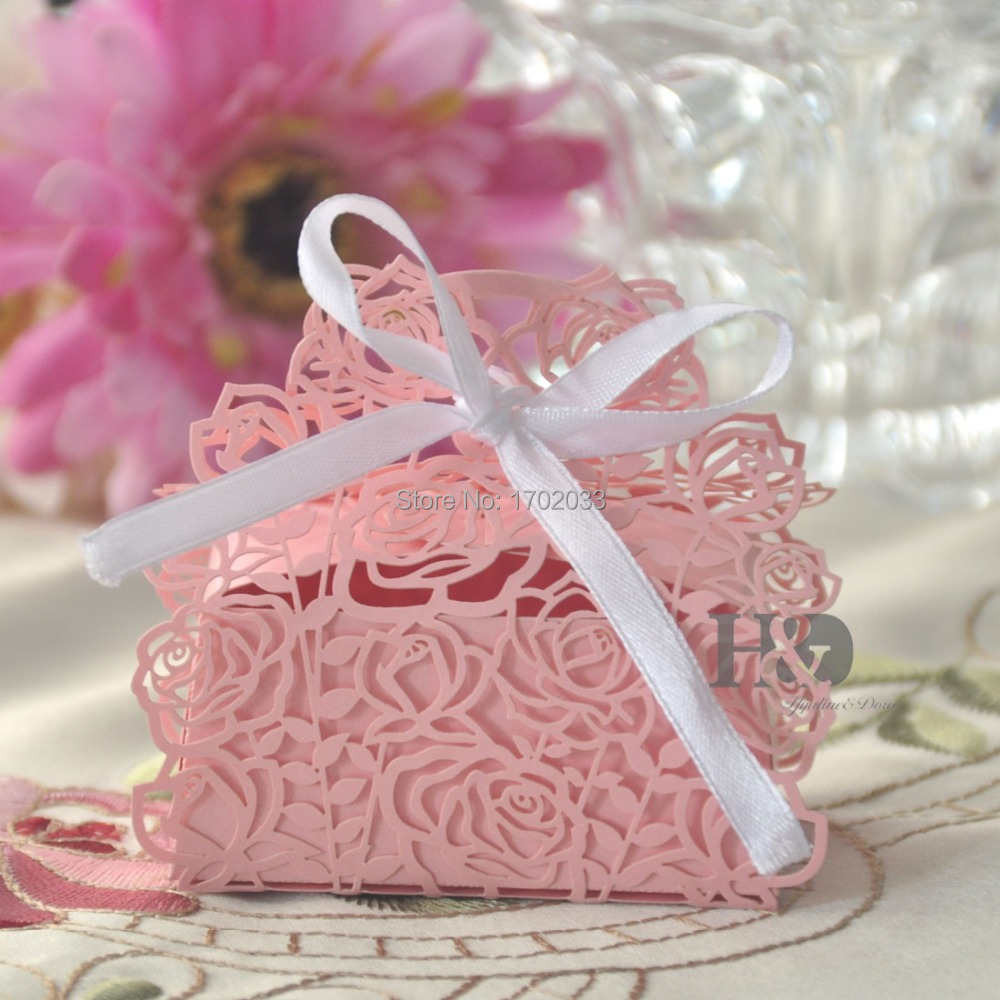 120Pcs/lot Laser Cut Pink  Rose Paper Ribbon Souvenirs Gift Candy Box Party Wedding Favors Decorations Show Candy Box for guests(China (Mainland))