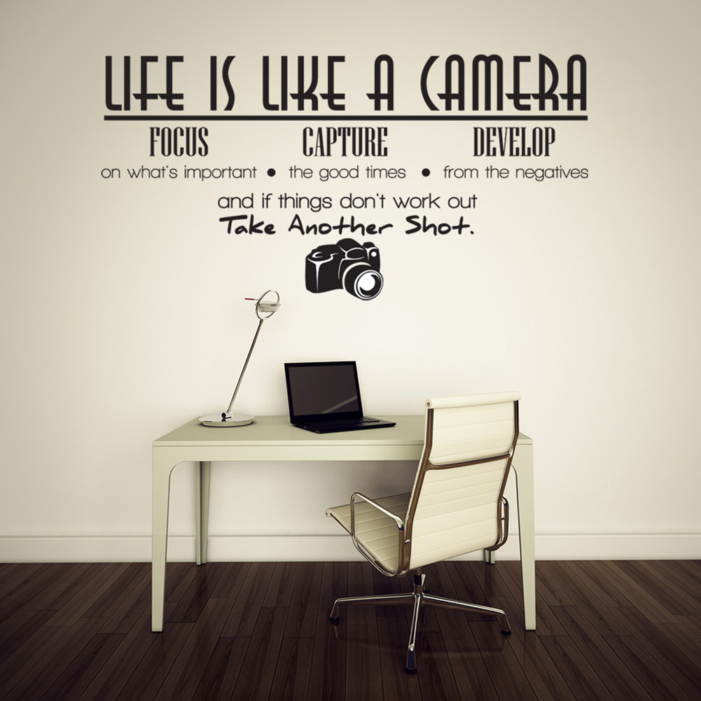 Unique Creative Removable Life Is Like A Camera Quote Wall Stickers Decals Office Study Decoration DIY(China (Mainland))