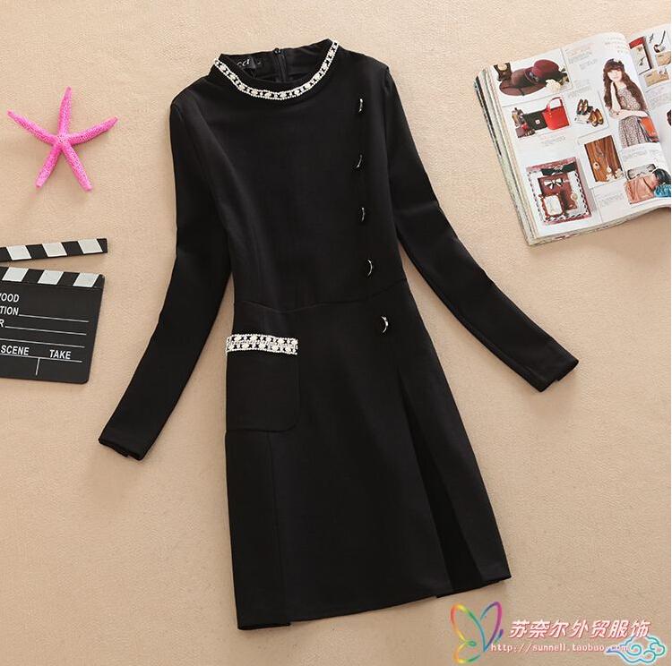 Здесь можно купить  2015 latest autumn Ladies fashion dress Long sleeve splicing set auger big yards dress Elegant leisure office dress G1538  Одежда и аксессуары