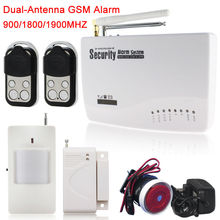 Wireless Wired GSM Home Security Burglar Alarm System +1*Infrared Sensor+1*Door/window Sensor+2*Remote Control Free Shipping