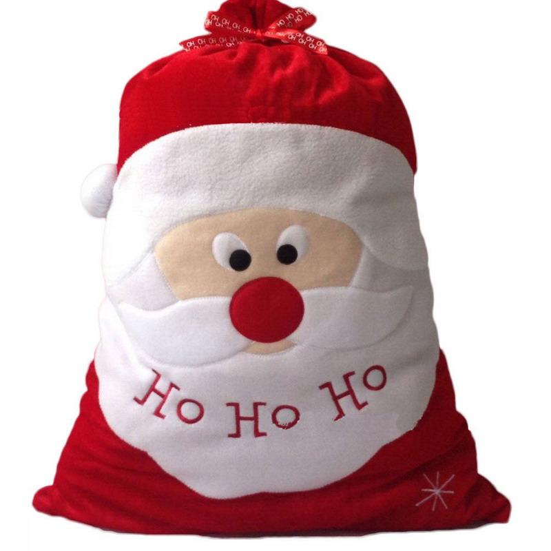ASLT Christmas Day Decoration Santa Large Sack Stocking Big Gift bags HO HO Christmas Santa Claus Xmas Gifts Free Shipping(China (Mainland))