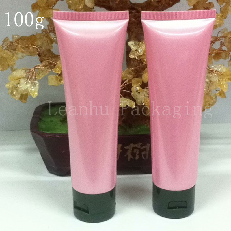 100G X 50 Empty Pink Soft Tube For Cosmetics Packaging,100ML Lotion Cream Plastic Bottles , 1OZ Skin Care Cream Containers Tube(China (Mainland))