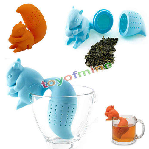 Squirrel Tea Infuser Loose Leaf Strainer Herbal Spice Silicone Filter Diffuser(China (Mainland))
