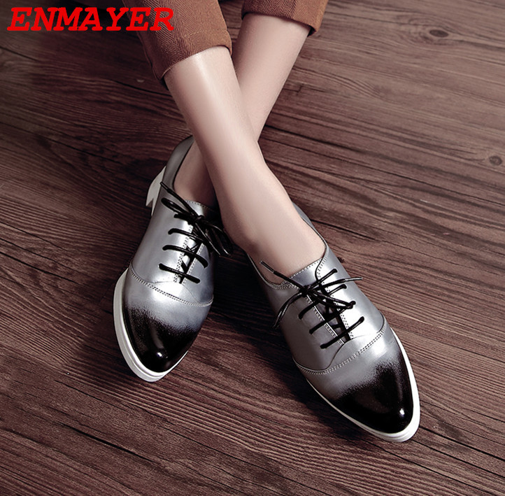 ENMAYER women pumps Low heel shoes comfortable and elegant high-quality casual fashion girl on the grade New 2015 platform pumps