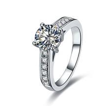 Ювелирный бренд 1KT Синтетические Diamant Кольцо Для Женщин S925 Штампованные Свадьба Ювелирные Изделия Стерлингового Серебра Обручальное Кольцо Роскошный Цвет(China (Mainland))