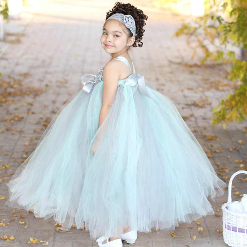 Mint Green and Gray Couture Wedding Flower Girl Tutu Dress Baby Dancing Birthday Dress Summer Kids Photo Clothing TS054(China (Mainland))