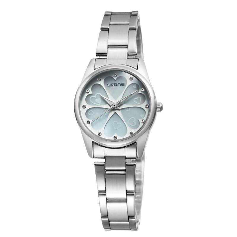 2035 Movement Skone Flower Quartz Watches Women Stainless Steel Case Wristwatch Dress Watch SK-7291(China (Mainland))
