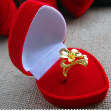 1PC Velvet Cover Red Heart Jewelry Ring Display Storage Organizers Box Xmas Gift(China (Mainland))