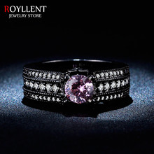 Vintage Black Gold Plated Pink CZ Diamond Jewelry Classic Ring Engagement Wedding Rings For Women Bague Femme Anillos RL245