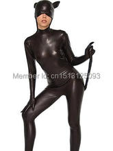 Black Shiny Metallic Catwoman Costume Zentai suit Superhero Cosplay Party costumes the most classic free shipping