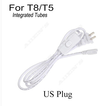US Plug T5 T8 LED Tube Integrated fixture Plug Power Cord 2 Core with Switch Extension Cord Three-Hole 1.8 Meters 4pcs/lot(China (Mainland))