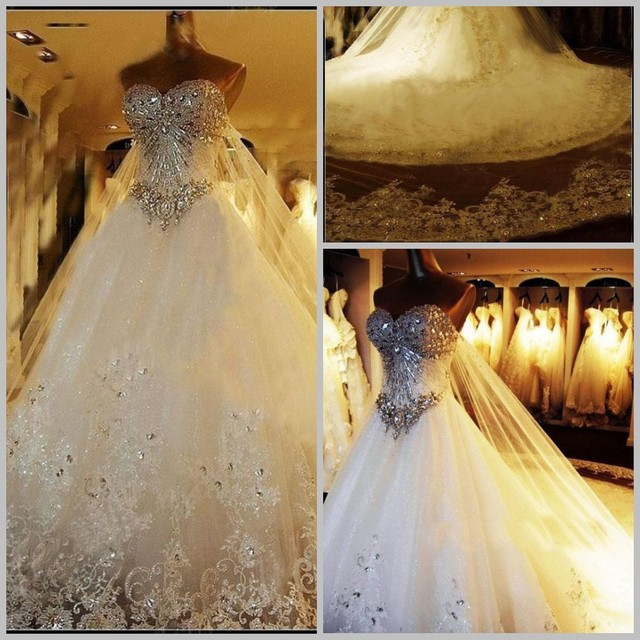 Crazy sell new perfect sparkly a line white ivory wedding for Places that sell wedding dresses