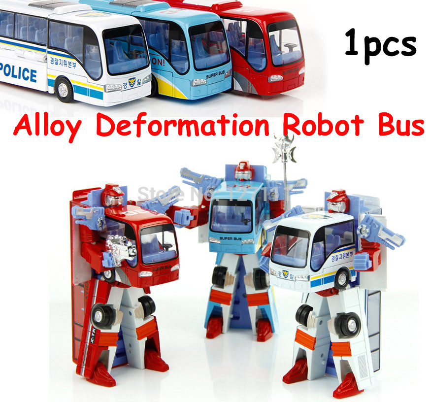 New Style Poly Robocar Robot Transformation Bus Car Toys Alloy Deformation Police Robot Bus Toys For Kids children 3 color #FB(China (Mainland))