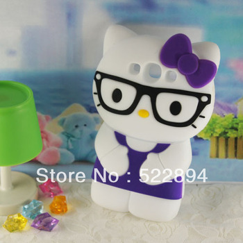 Lovely Fashion 3D Cartoon Wear Glasses Hello Kitty Silicone Soft Case Cover For Samsung Galaxy S3 SIII i9300 Free Shipping