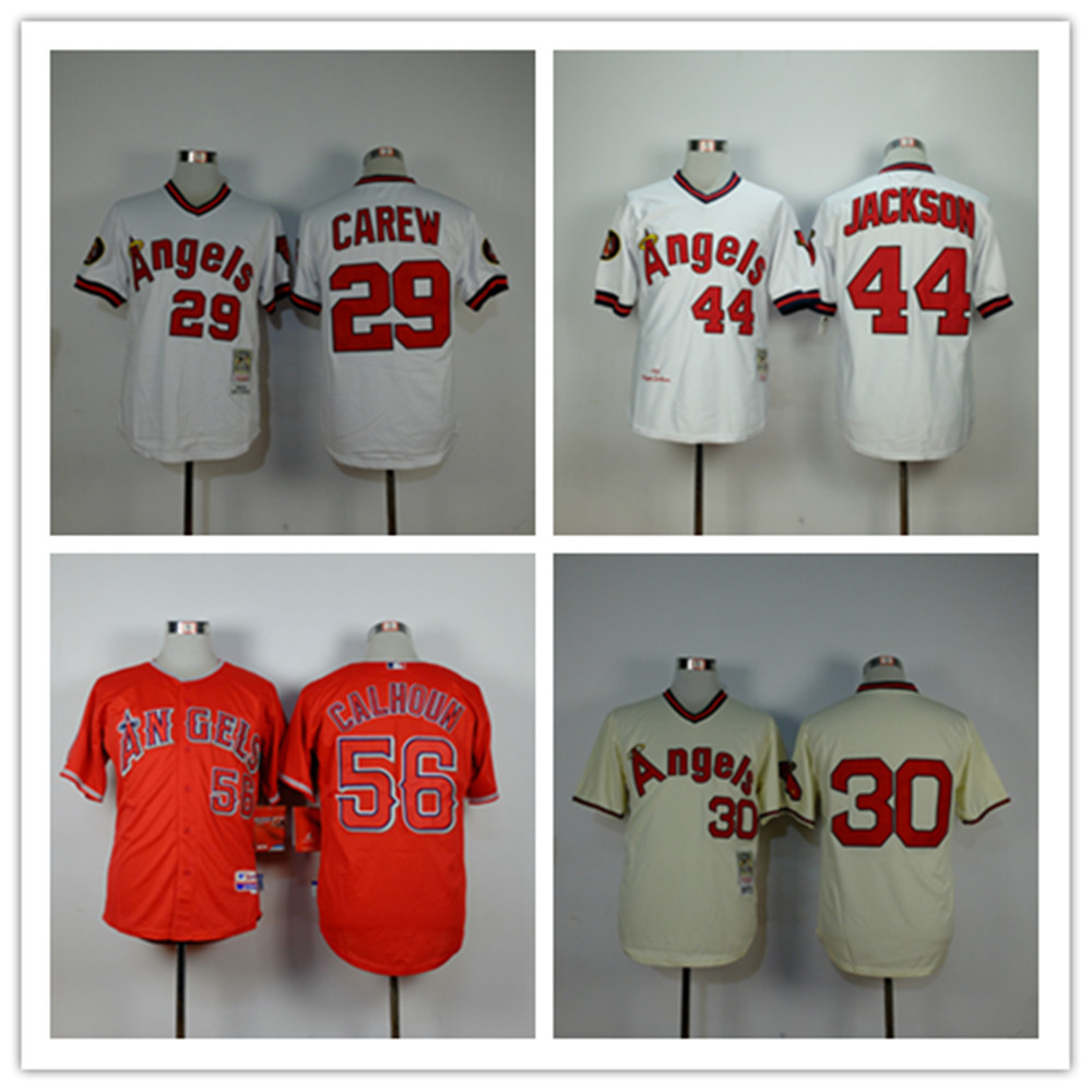 Cheap Los Angeles Angels 44 Reggie Jackson 30 Nolan Ryan 29 Rod Carew Baseball Jerseys Stitched Logos White Red Free Shipping(China (Mainland))