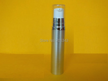 10ML silver airless bottle lotion white press pump transparent lid comspetic packing - world -cosmetic and medicine store