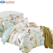 Svetanya Duvet cover set (without comforter) pastoral Bird printing bedding sets queen double full size Bedlinen 100% Cotton(China (Mainland))