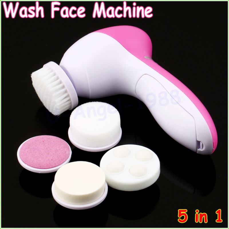 1pcs 5 in 1 Electric Wash Face Machine Facial Pore Cleaner Body Cleaning Massage Mini Skin Beauty Massager Brush Wholesale(China (Mainland))