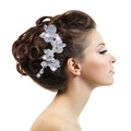 Fashion Wedding Accessories Charm Austrian Crystal Flower Leaf Bridal Hair Comb Wedding Decoration Hair Jewelry For