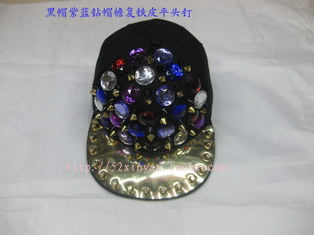 Flat along the cap punk rivet hiphop hip-hop hiphop cap bling crystal