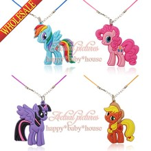 Novelty 4PCS/SET Lovely My Little Horse Cartoon Character 2D Pendants Necklace for Kids Children Gift/Toys Travel Accessories(China (Mainland))