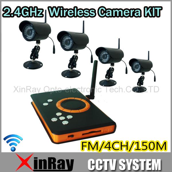 4pcs 2.4GHz Outdoor IR Night Vision Camera + Wireless Receiver DVR H.264 SD Card Storage CCTV Camera DVR KIT, ZJ128DR4(China (Mainland))