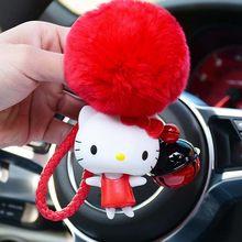 Corda de couro Chave Do Carro Urso Charme Dos Desenhos Animados Anime Olá Kitty Gato Afortunado Chaveiro Fluffy Rabbit Fur Pom Chave Saco Cadeia anel Titular(China)