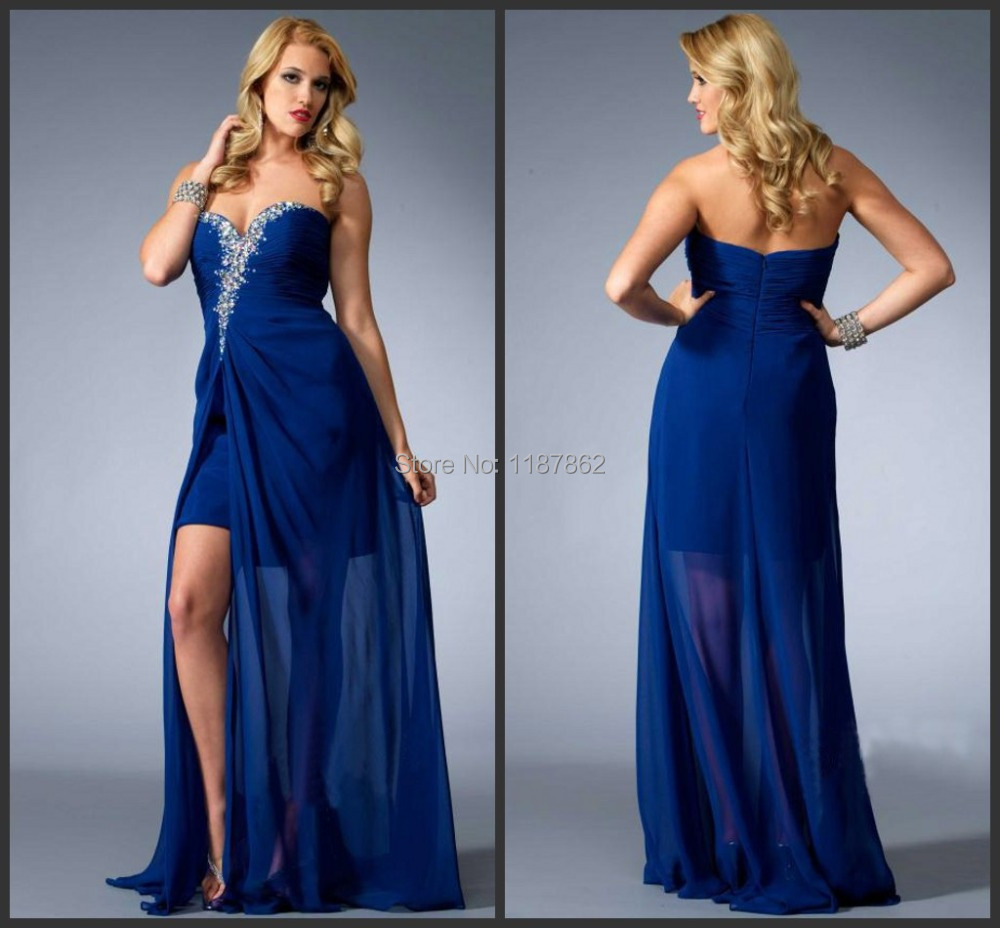 pd0197 fashion high low dresses royal blue corset long