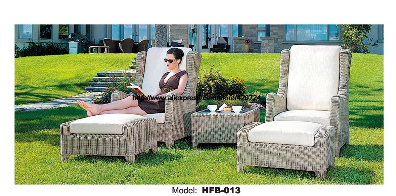 Sun Lounger 2 Chair Set Rattan Design Holiday beach Lying Sofa Chair Rattan Chaise Longue Lying Chair Outdoor Furniture HFB013 <br><br>Aliexpress