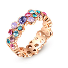 G.R N.E.R.H Fashion Colorful Austrian Crystal Ring white Gold Plated Gift Jewelry for Women Wedding Fine Jewelry(China (Mainland))